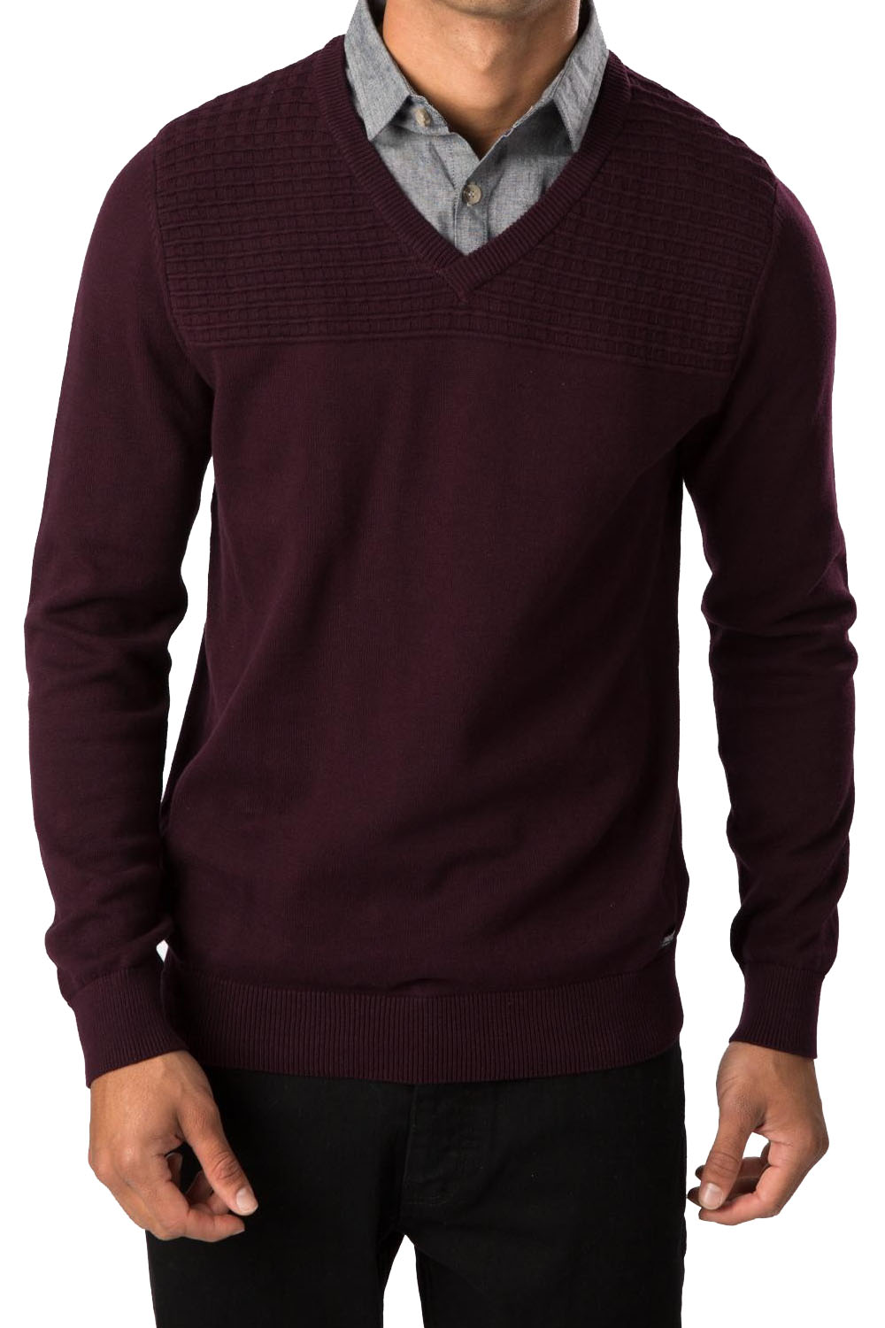 Threadbare Mens Knitted V Neck Jumper Jakarta Sweater Mock Shirt ...