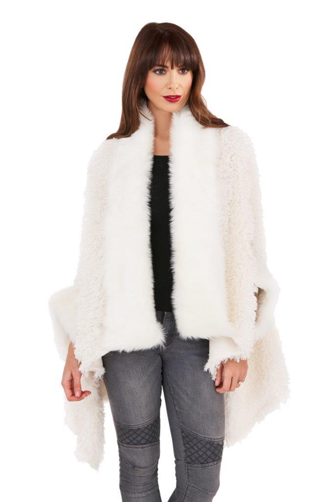 Boutique Womens Faux Fur Cape Ladies Luxuriously Super ...