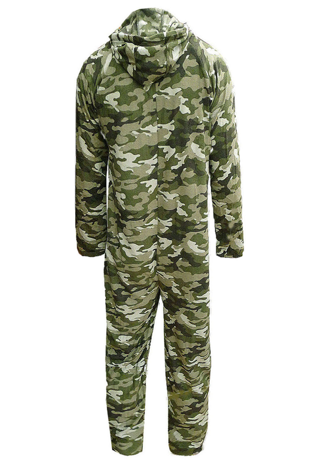 Mens Luxury Camouflage Sleepsuit Adults Hooded Soft Fleece All In One Pyjamas