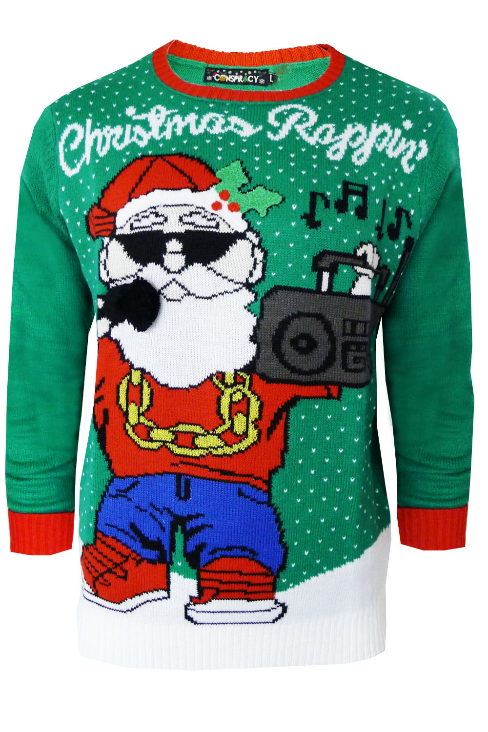 conspiracy mens womens 3d christmas jumper warm knitted. Black Bedroom Furniture Sets. Home Design Ideas
