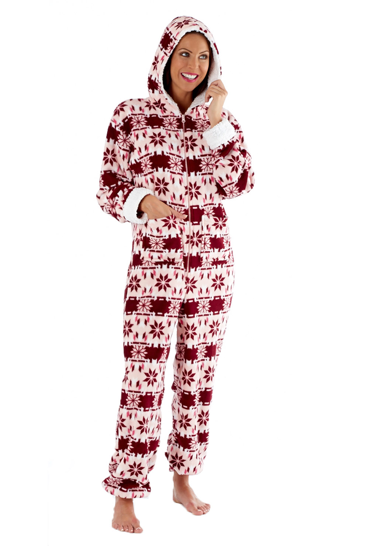 Womens Fair Isle Jumpsuit Robe Nightdress Or Pyjamas Ladies Fleece Nightwear