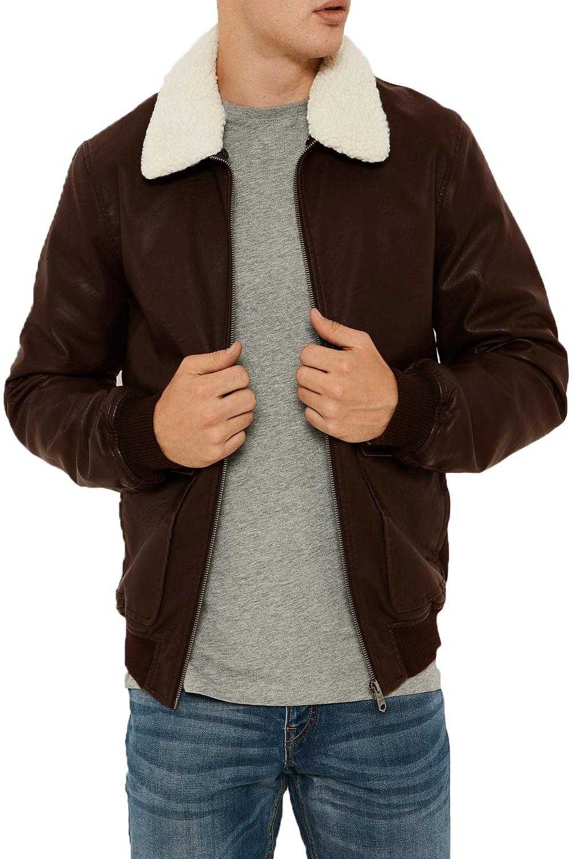 Threadbare Mens Redwing Faux Leather Coat Detachable Borg