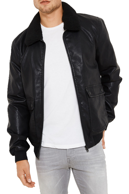 Threadbare Mens Redwing Faux Leather Coat Detachable Borg ...