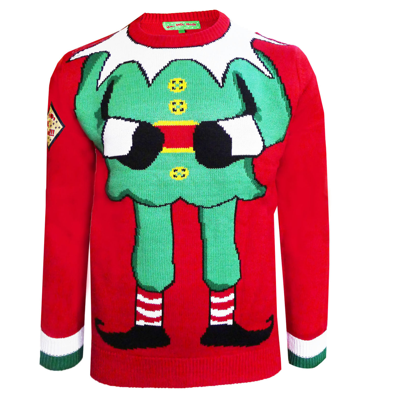 Adults ELF Jumper HO HO HO Christmas Sweater NEW Mens ...