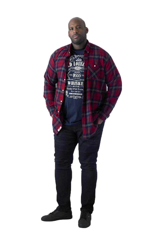 Duke D555 Mens Richard Big Tall King Size Checked Shirt /& Printed Tee Combo Set