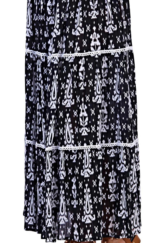 Pistacho para Mujer Diseñador Estampado Tribal Falda De Verano Largo Damas Plisada Maxi