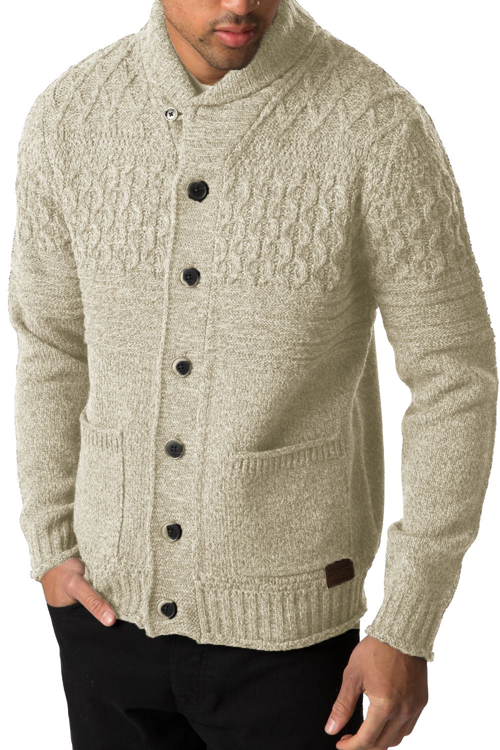Threadbare Mens Knitted Cardigan Lille Button Up Chunky Knit Shawl ...