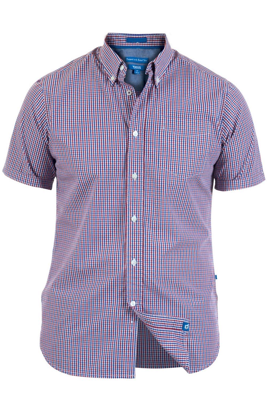 DUKE D555 da uomo Nicholas controllato camicia casual a maniche corte button down Top