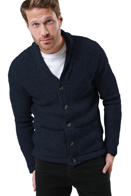 Threadbare Mens Pumpkin Buttoned Cardigan Shawl Neck Cable Knit Winter Jumper