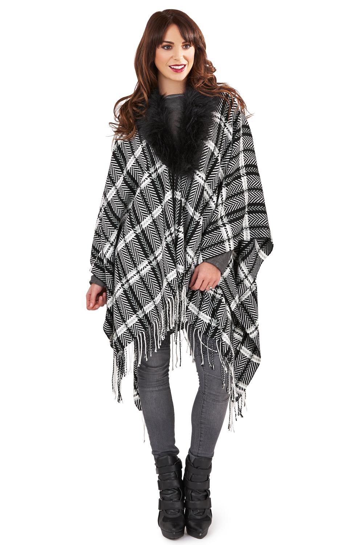 Boutique Womens Monochrome Check Wrap Detachable Faux Fur Collared Blanket Cape