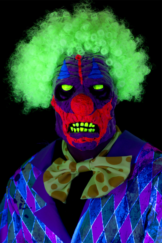 Smiffys Mens UV Black Light Clown Mask Evil Circus Halloween Fancy Dress Outfit