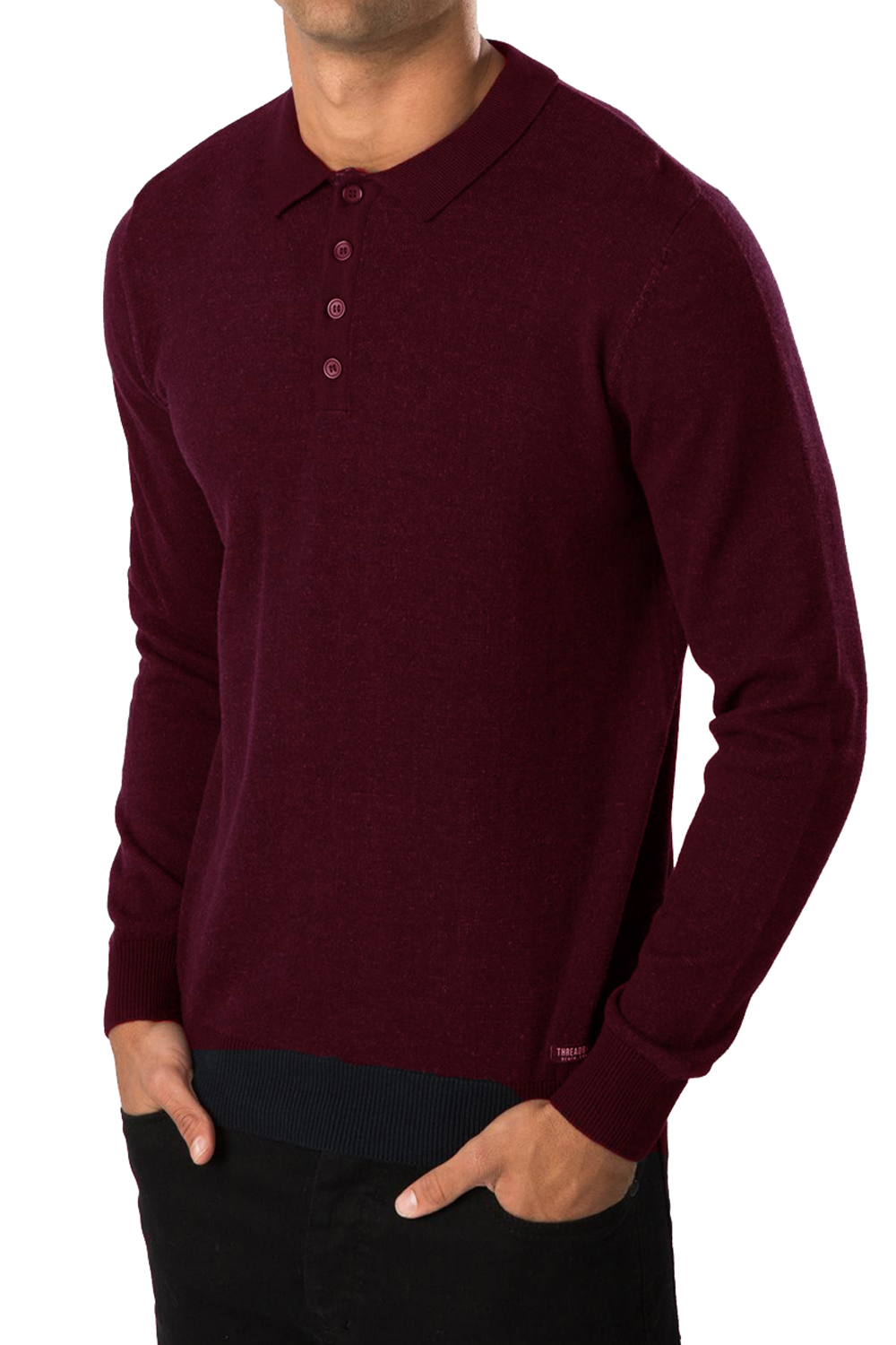 Threadbare mens jumper kiev polo neck collared top long for Mens sweater collared shirt