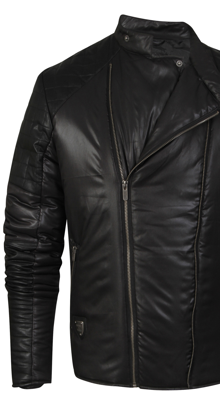 Fremont And Harris Outlaw Mens Faux Leather Wet Look Racer Quilted Biker Jacket