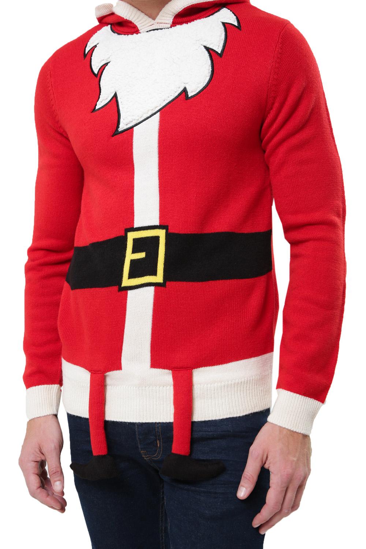 Threadbare Mens 3D Christmas Hoodies Festive Xmas Elf Santa Reindeer Jumpers
