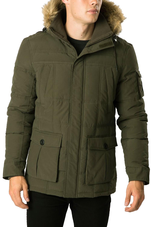 Threadbare Mens Parka Coat Humberside Faux Lined Hood Padded Parker Jacket