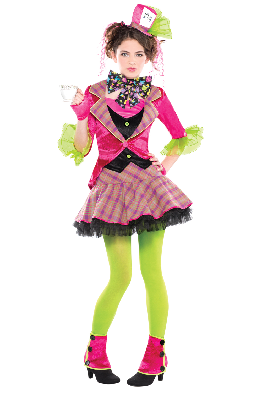 Girls-Mad-Hatter-Costume-amp-Tights-New-Tea-Party-Fairy-Tale-Fancy-Dress-Outfit