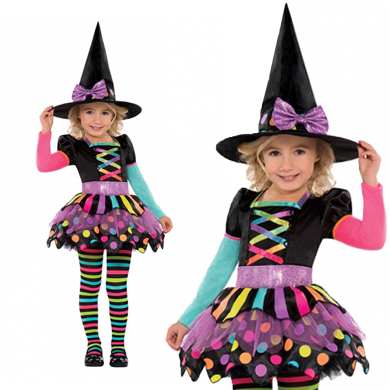 Childrens Miss Matched Witch New Kids Girls Halloween Fancy Dress ...
