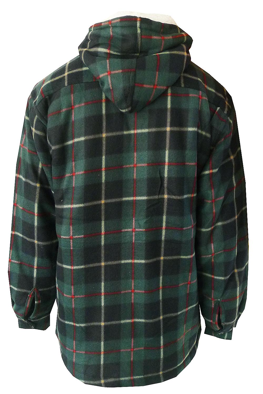 Mens Lumberjack Shirt New Fleece Lined Hooded Check Plaid