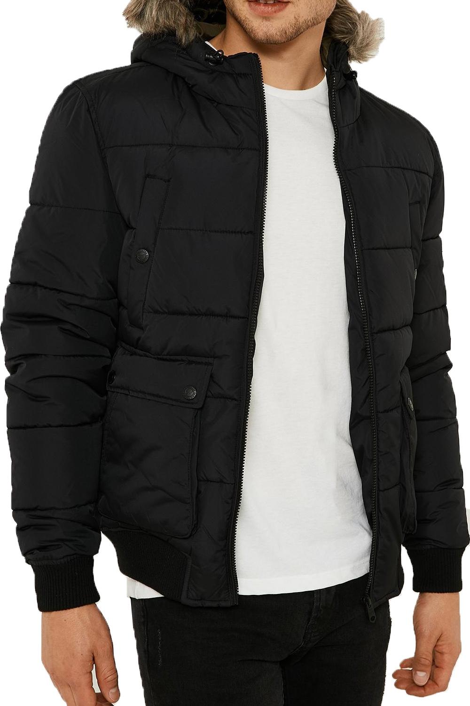 Threadbare Night Owl Mens Puffer Jacket Designer Faux Fur Trim ...