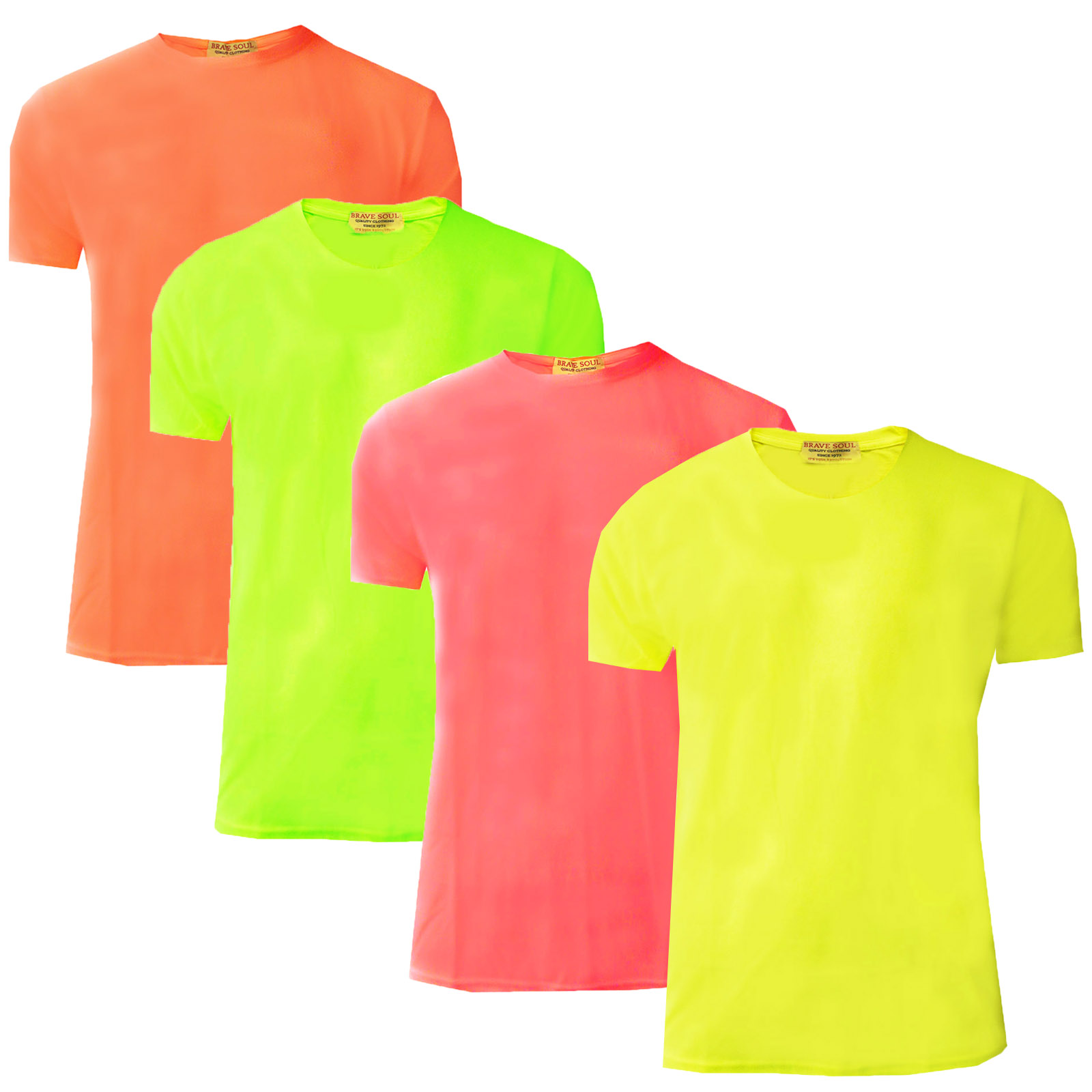 Mens Neon T Shirt Brave Soul New Summer Bright Coloured