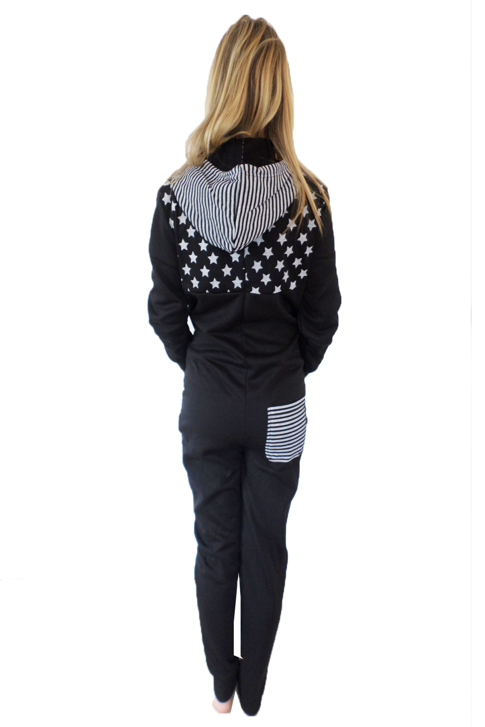 Belle Boutique Womens Hooded Star /& Stripes All In One Ladies Hooded Loungewear