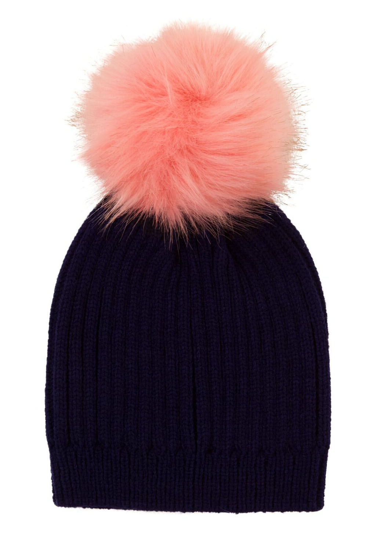 Nifty Childrens Detachable Faux Fur Pom Pom Chunky Knit Designer Kids Beanie Hat