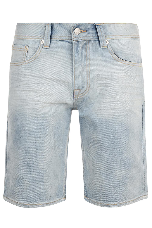Bellfield Mens Arvida Bleached Wash Denim Shorts Adults Designer Jean Shorts