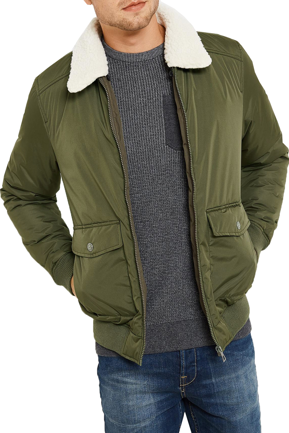 Threadbare Mens Camden Bomber Jacket Faux Borg Collar
