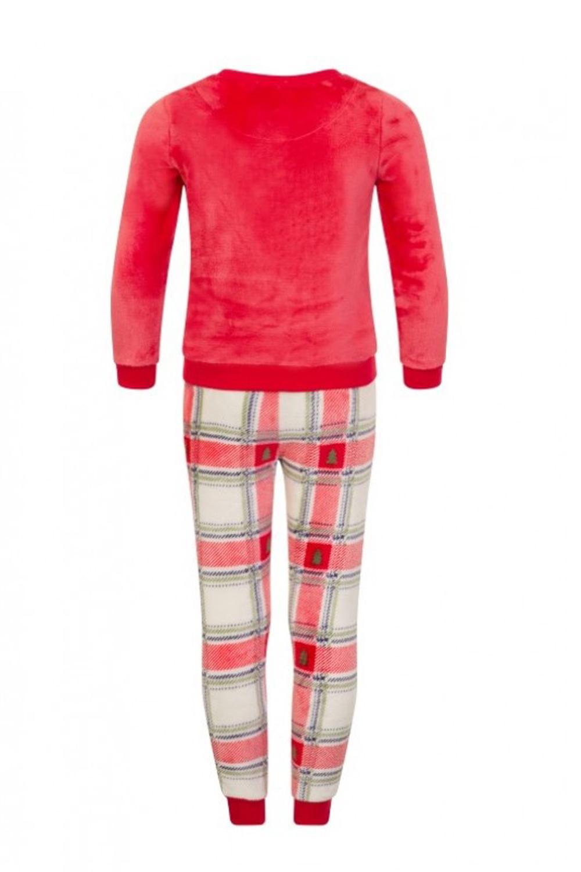 Nifty Enfants Luxe Super Doux Ours Polaire appliqué Pyjamas avec Tartan Bottoms