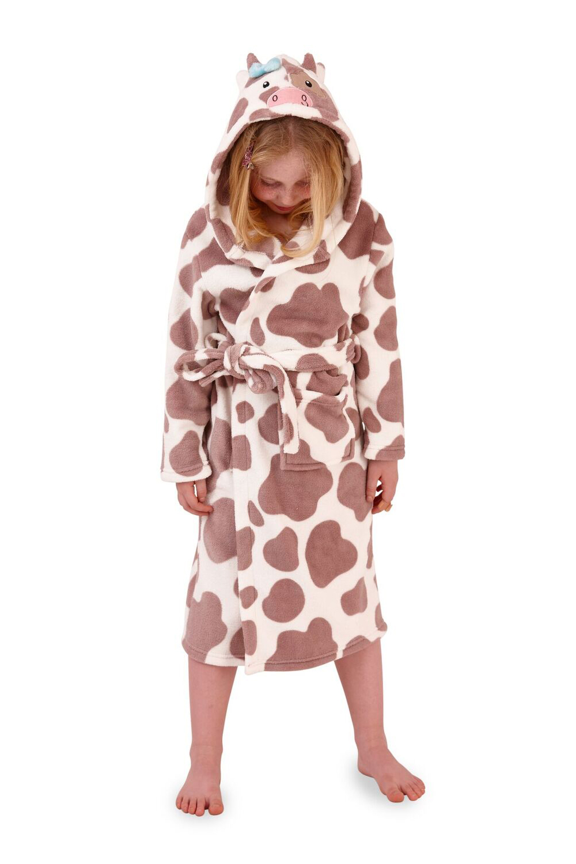 Nifty Kids 3D Cow Print Robe Dressing Gown Boys Girls New Super Soft Nightwear
