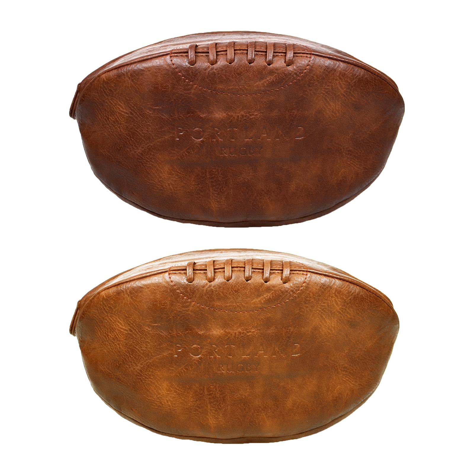 Hommes portland vintage brun cuir synth tique sport ensemble ballon de rugby - Ballon de rugby cuir vintage ...