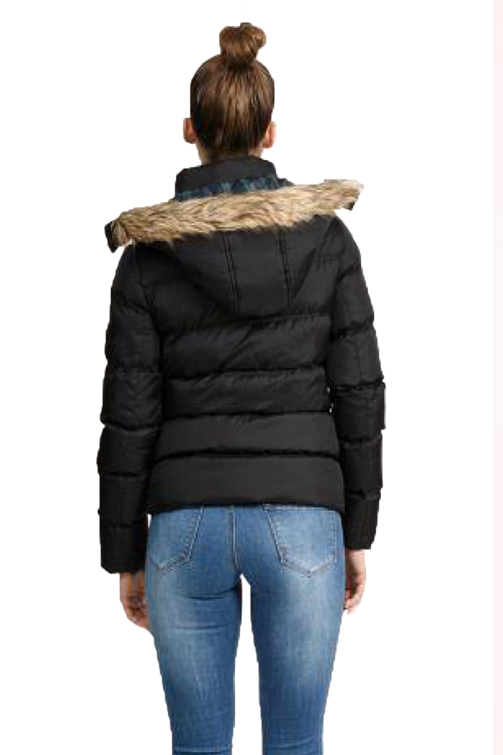Brave Soul Hopp Womens Faux Fur Trim Detachable Hooded Quilted Padded Coat