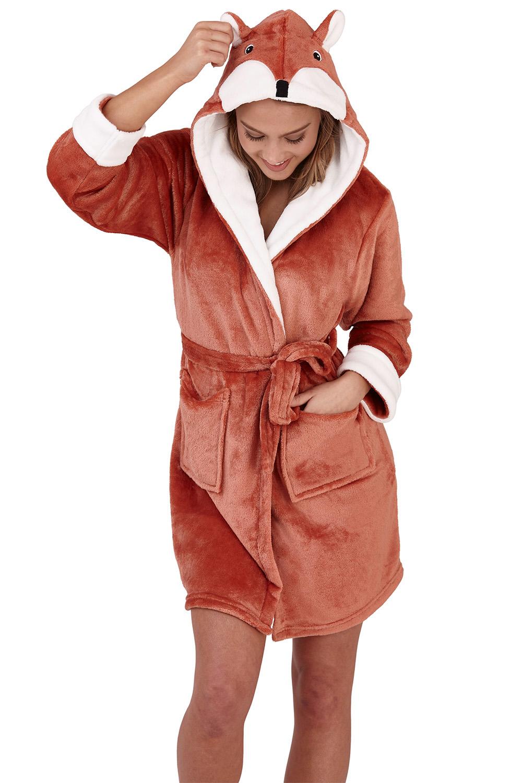 Loungeable Adults 3D Fox All In One Or Robe Soft Fleece Animal Jumsuit Sleepwear