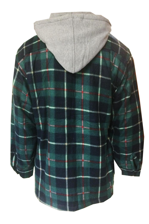 Mens Check Lumberjack Jacket Fleece Lined Flannel Hooded