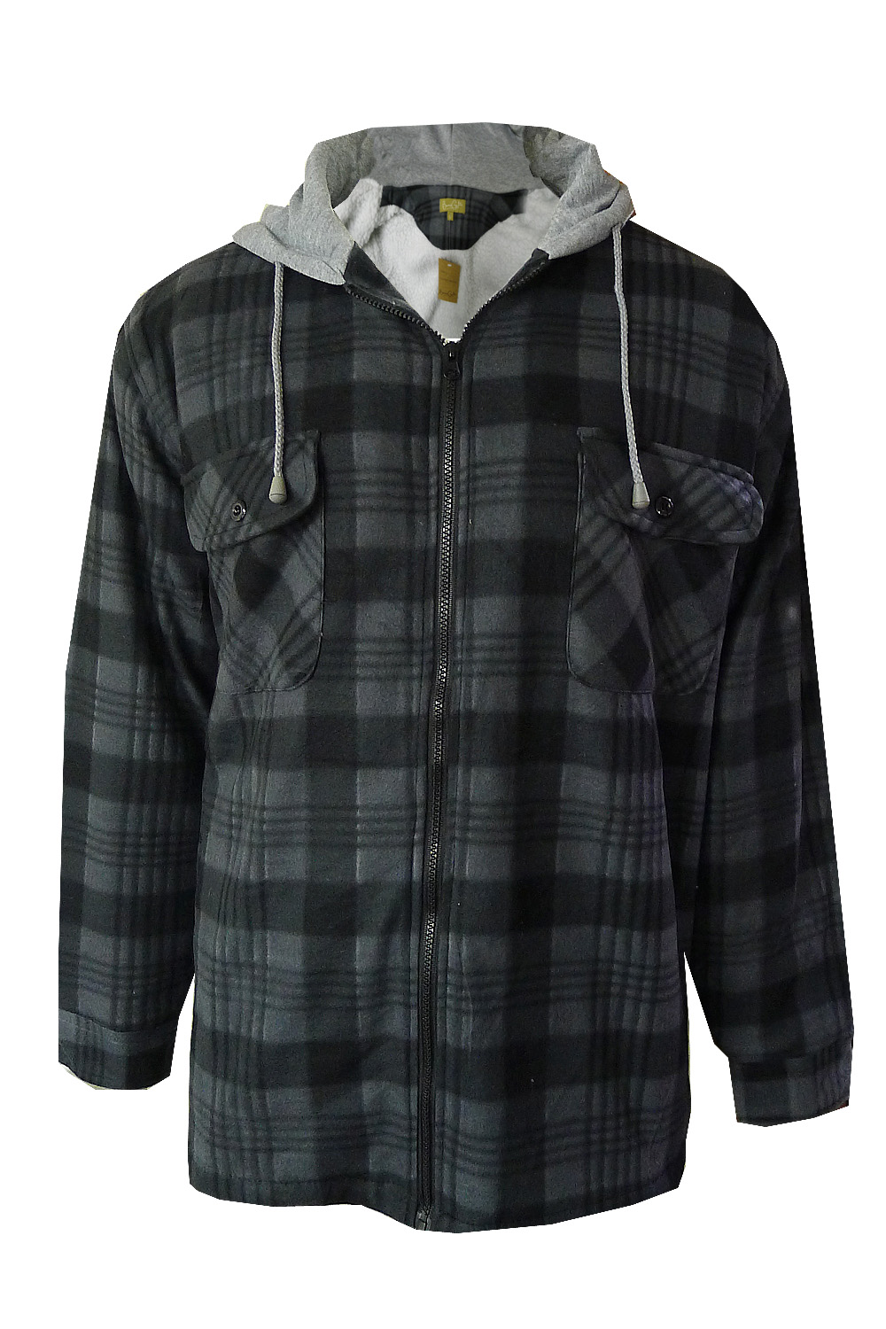 mens check lumberjack jacket fleece lined flannel hooded plaid worker shirt ebay. Black Bedroom Furniture Sets. Home Design Ideas