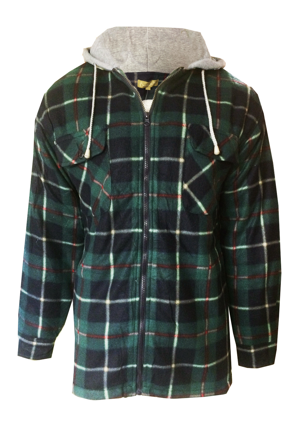 Mens Check Lumberjack Jacket Fleece Lined Flannel Hooded