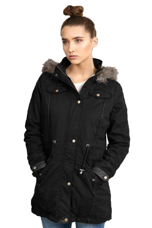 Brave Soul Ladies Winter Coat Oversized Hooded Parka Plain Military Jacket