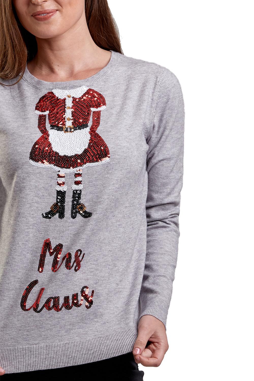 Womens Novelty Sequin Xmas Jumper Ladies Festive Elf Mrs Claus Christmas Sweater