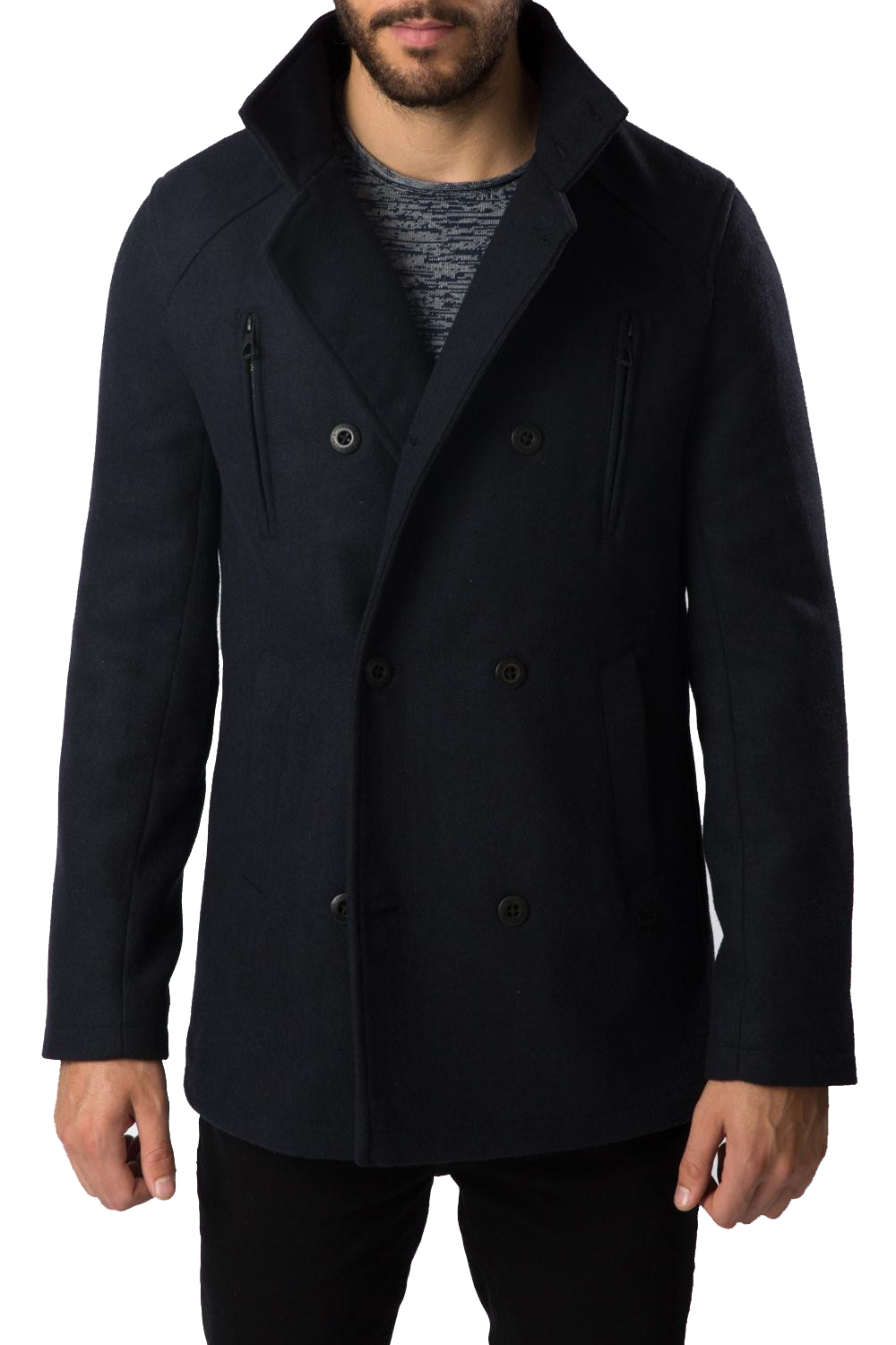 Threadbare Mens Wool Mix Jacket New Collared Double Breasted Lined ...