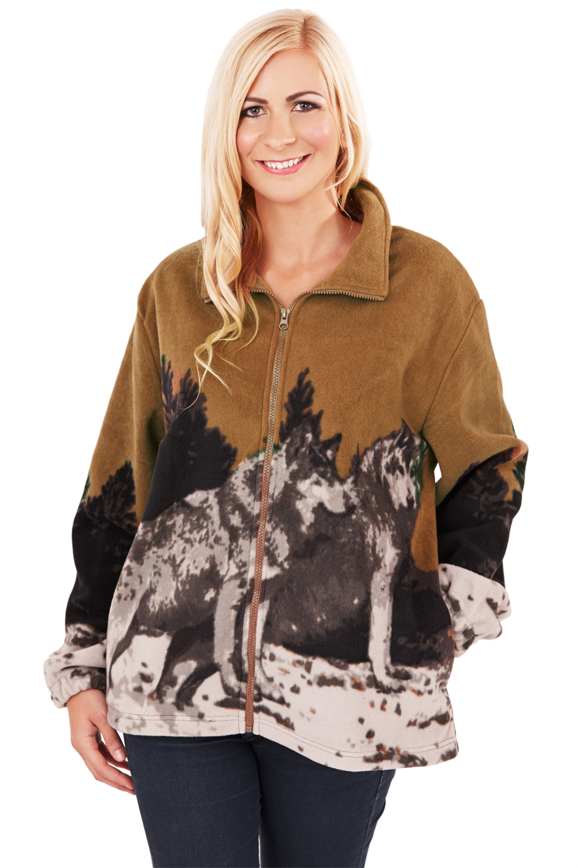 Mens Womens Animal Printed Fleece Jacket New Zip Up High ...