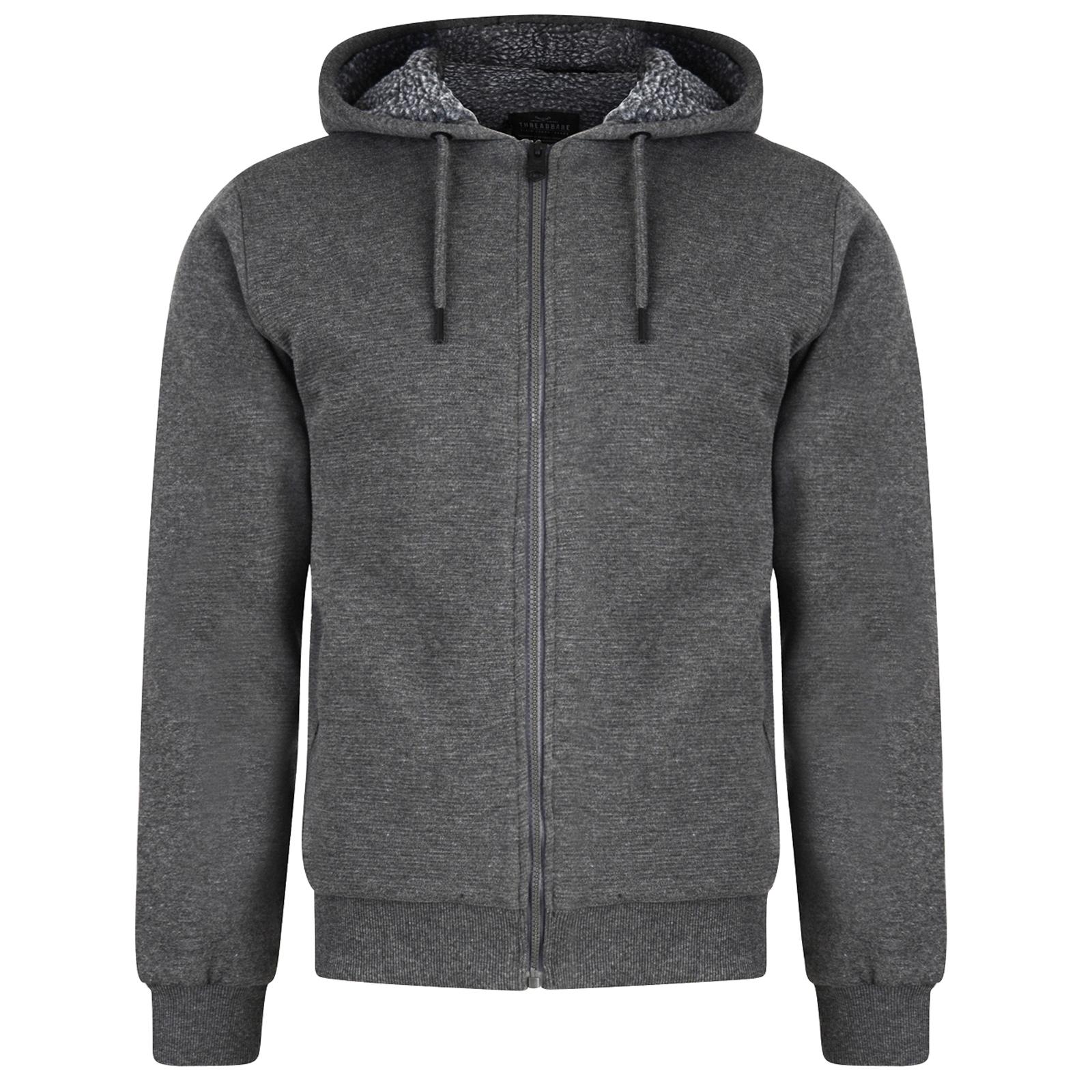 Threadbare Mens Goldhawk Full Zip Up Hoodie Warm Soft Sherpa Fleece Lined Jacket