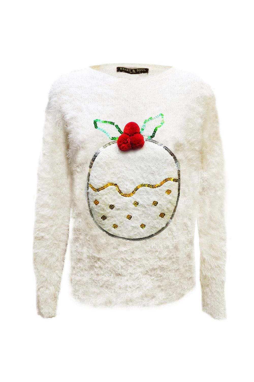 Christmas Novelty Jumper Knitting Patterns : Womens novelty d christmas jumper ladies mohair eyelash