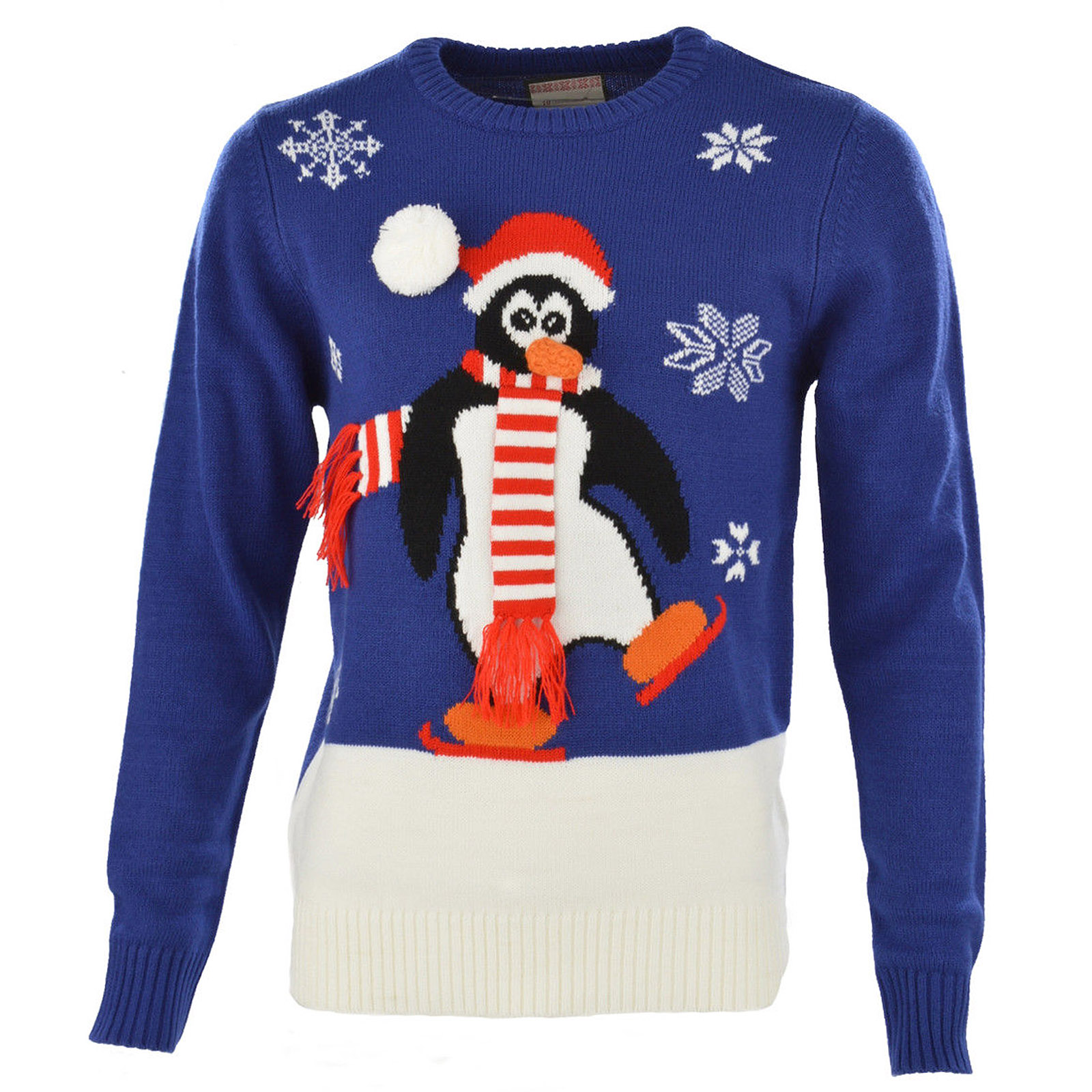 Christmas Penguin Jumper Knitting Pattern : Mens Womens Skating Penguin Jumper New Knit Christmas Novelty Ladies Xmas Top...