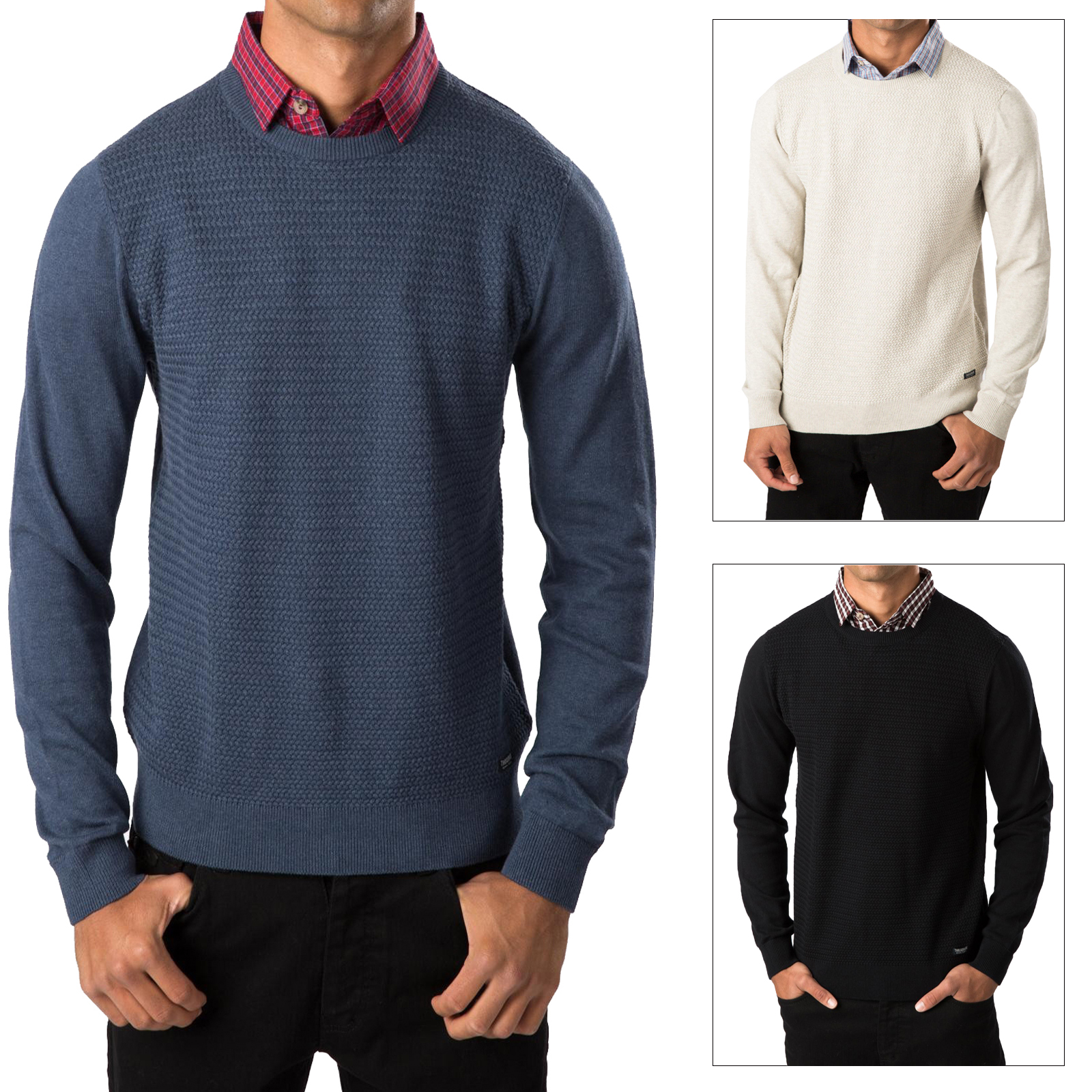Threadbare Mens Knit Jumper Geneva Crew Neck Jumper Mock Shirt ...