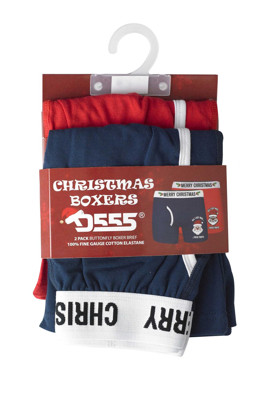 DUKE D555 da uomo Claus Natale Intimo Multi DUE PACK Regolare Boxer