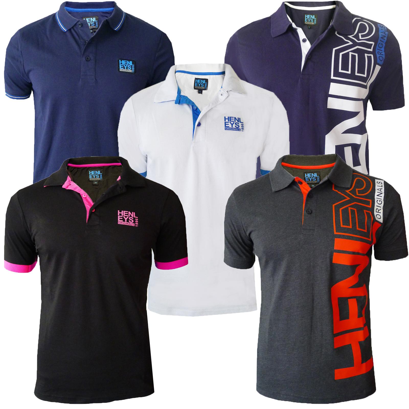 Shirt design gents - Henleys Designer Mens Polo Shirt Casual Collared Pique Top Short Sleeved T Shirt