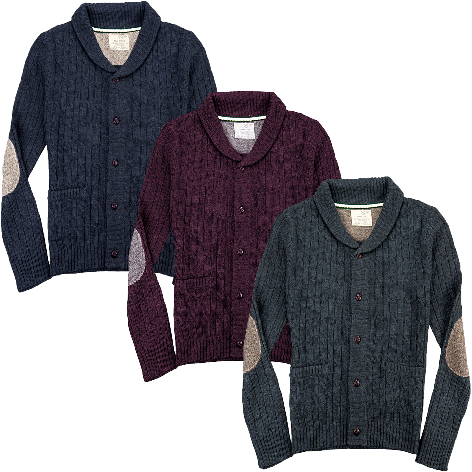 hommes cardigan brave soul neuf tricot grosse maille hiver patchs ch le pull ebay. Black Bedroom Furniture Sets. Home Design Ideas