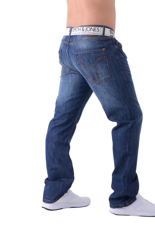 Smith /& Jones Mens Zuccio Boot Cut Jeans Classic Denim Trousers With Free Belt