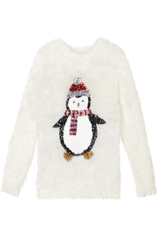 Matching Womens Girls Christmas Jumpers Novelty Sequin 3D Penguin Knit Sweater