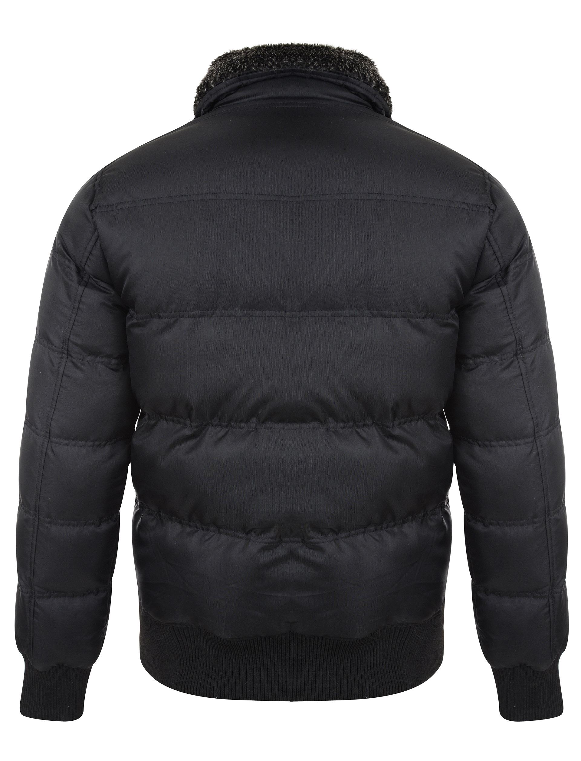 D Struct Mens Moston Padded Puffer Jacket Designer Button Up Windbreaker Coat